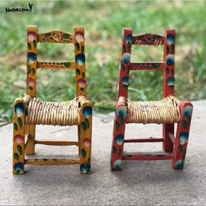 Vintage Handmade Wooden Doll Chairs